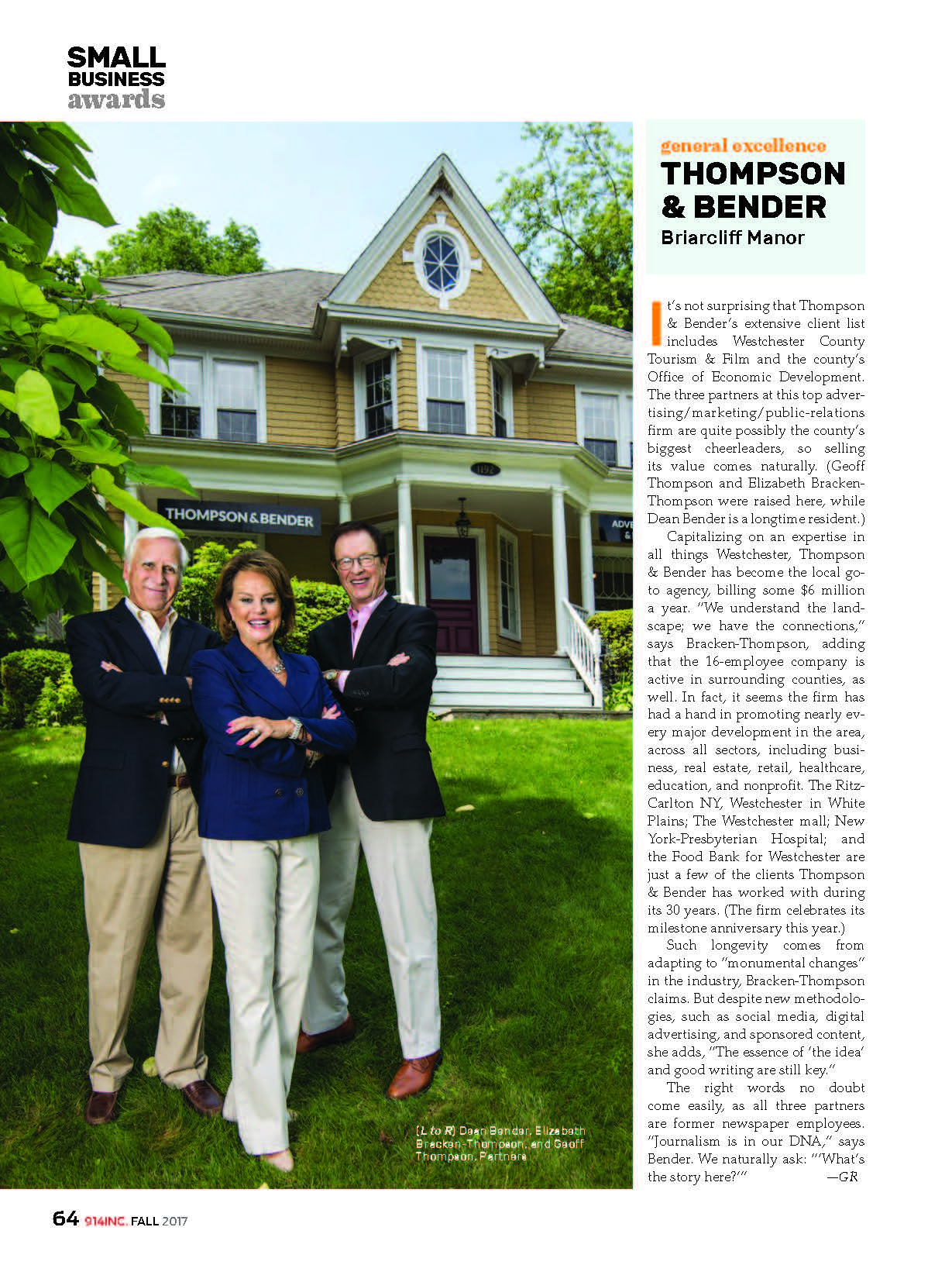 Thompson & Bender Receives Westchester Magazine's 914Inc. Small Business Award!